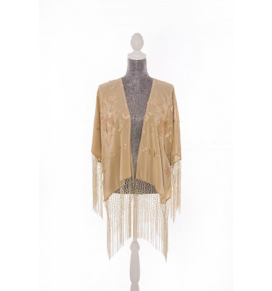 Natural silk hand embroidered jacket CH3