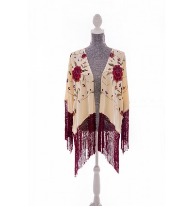 Natural silk hand embroidered jacket CH4