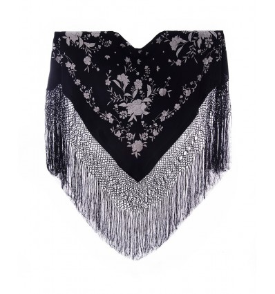 Natural silk hand embroidered shawl MD108