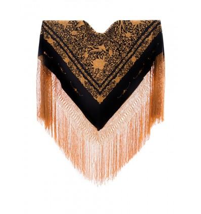 Mantón seda natural bordado a mano G431