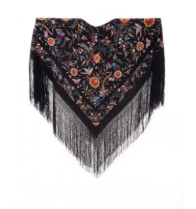 Mantón antiguo seda natural bordado M.ANT-361