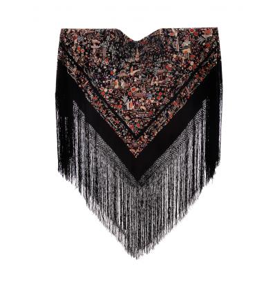 Vecchio mantello seta naturale ricamata M.ANT-21