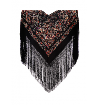 Mantón antiguo seda natural bordado M.ANT-21