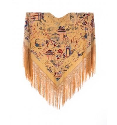 Vecchio mantello seta naturale ricamata M.ANT-336