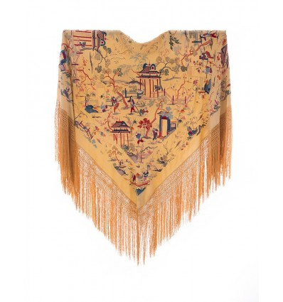 Mantón antiguo seda natural bordado M.ANT-336