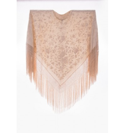 Mantón antiguo seda natural bordado M.ANT-348