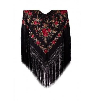 Natural silk hand embroidered shawl G66