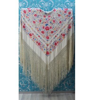 Mantón antiguo seda natural bordado M.ANT-276