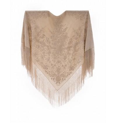 Mantón antiguo seda natural bordado M.ANT-302