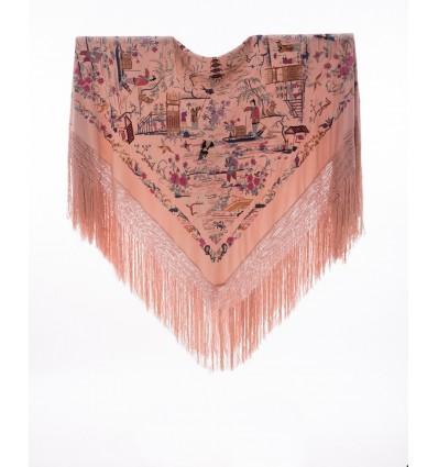 Mantón antiguo seda natural bordado M.ANT-359