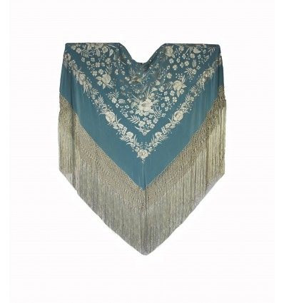 Natural silk hand embroidered shawl G312