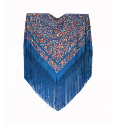Natural silk hand embroidered antique shawl M.ANT-441