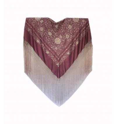 Natural silk hand embroidered shawl AR