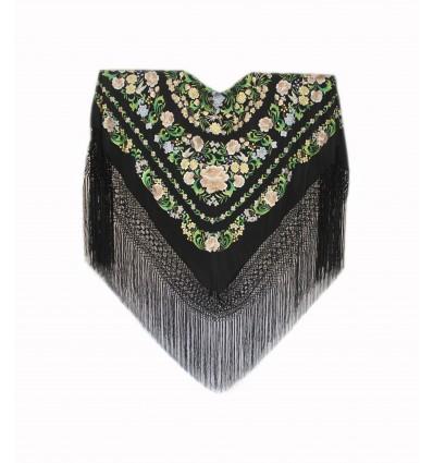 Natural silk hand embroidered shawl G453
