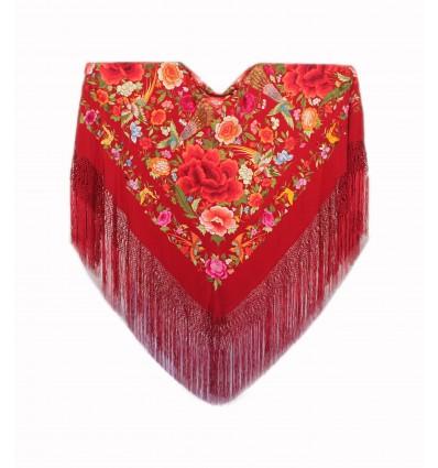 Natural silk hand embroidered shawl G425