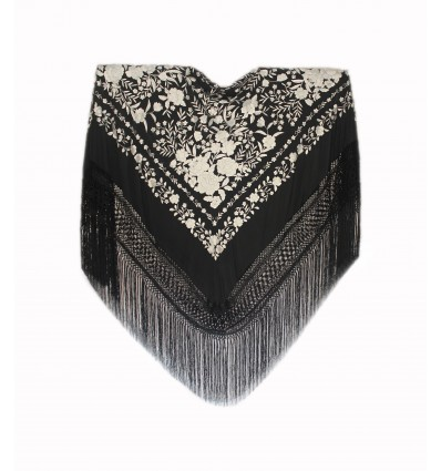 Natural silk hand embroidered shawl G467