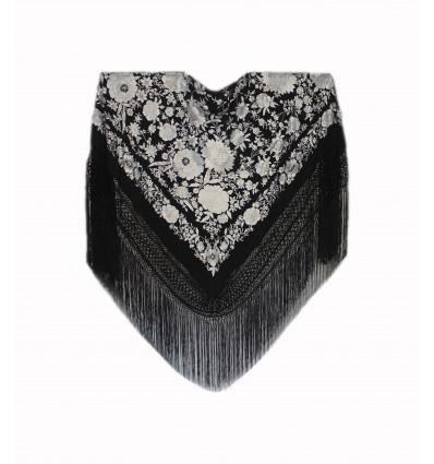 Natural silk hand embroidered shawl G468