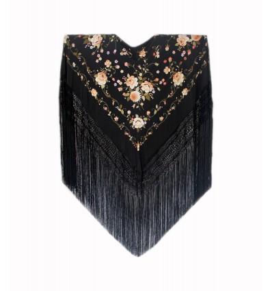 Natural silk hand embroidered shawl G322