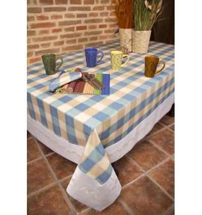 Tischdecken blaue Quadrate 126