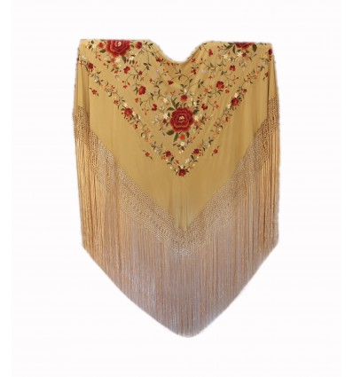 Natural silk hand embroidered shawl G292