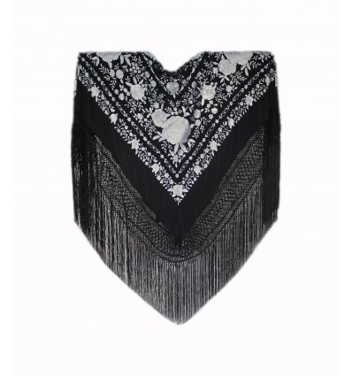 Natural silk hand embroidered shawl G463
