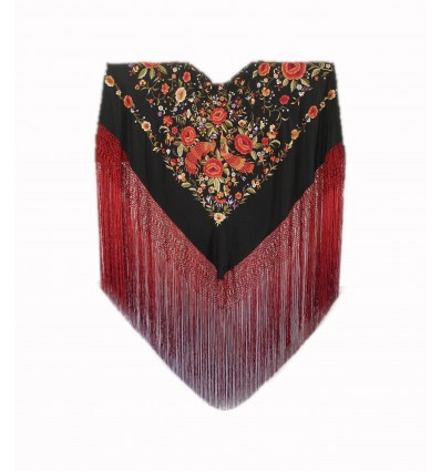 Natural silk hand embroidered shawl G309
