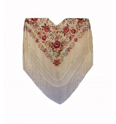 Mantón seda natural bordado a mano G305