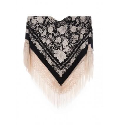 Natural silk hand embroidered shawl G188