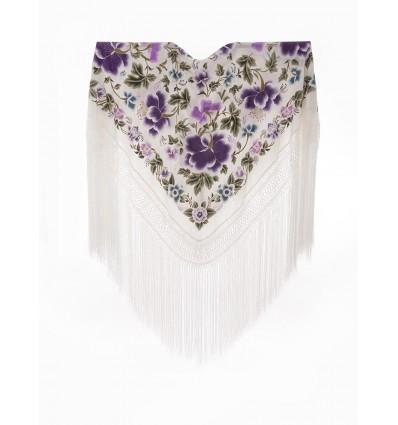 Natural silk hand embroidered shawl G303