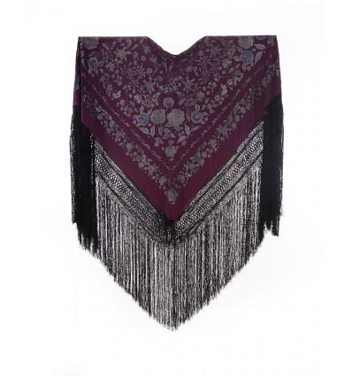 Natural silk hand embroidered shawl G317