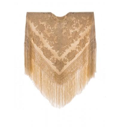 Natural silk hand embroidered shawl G386