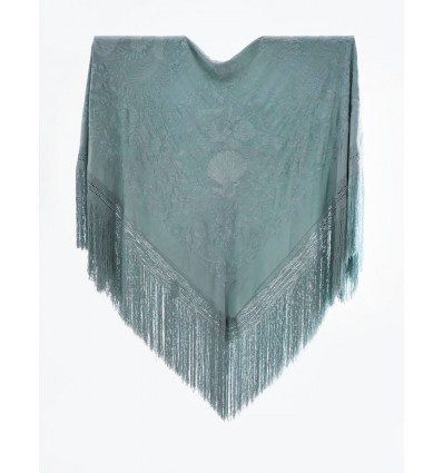 Mantón antiguo seda natural bordado a mano M.ANT-320