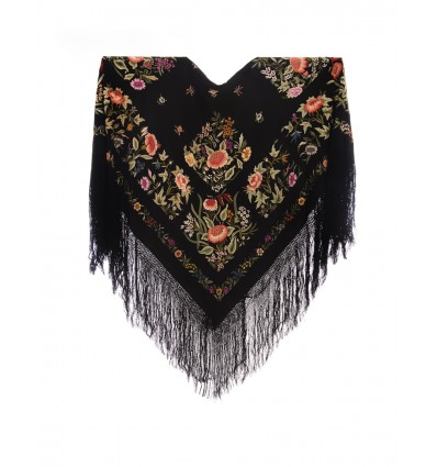Natural silk hand embroidered antique shawl M.ANT-341