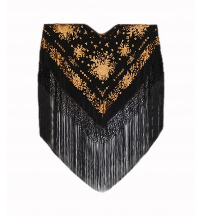 Natural silk hand embroidered shawl MD12