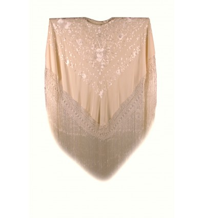 Natural silk hand embroidered shawl NC