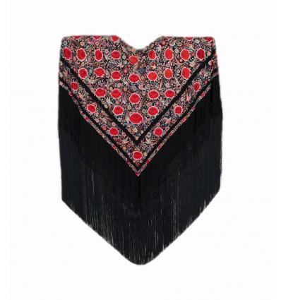 Mantón antiguo seda natural bordado a mano M.ANT-465