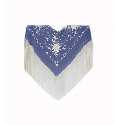 Natural silk hand embroidered shawl MC