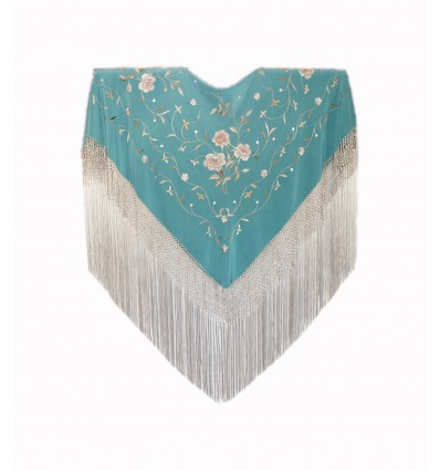 Natural silk hand embroidered shawl MD76M