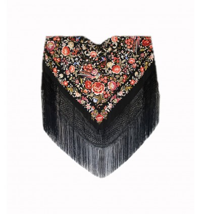 Natural silk hand embroidered shawl G491