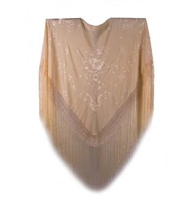 Natural silk hand embroidered shawl G83