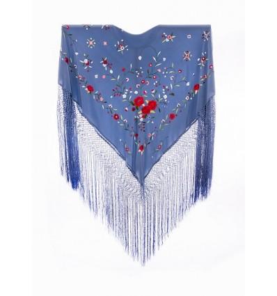 Natural silk hand embroidered shawl G304