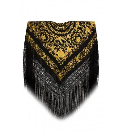 Natural silk hand embroidered shawl G297