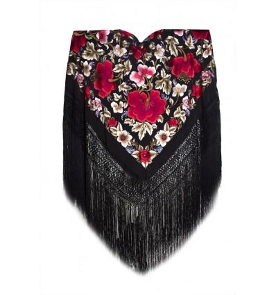 Natural silk hand embroidered shawl G95