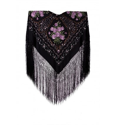 Natural silk hand embroidered shawl JT