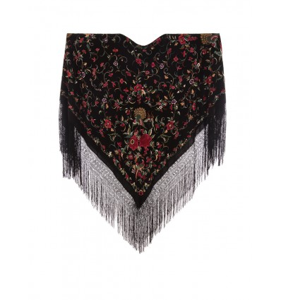 Natural silk hand embroidered antique shawl M.ANT-59