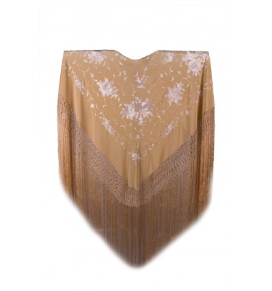 Natural silk hand embroidered shawl MD74