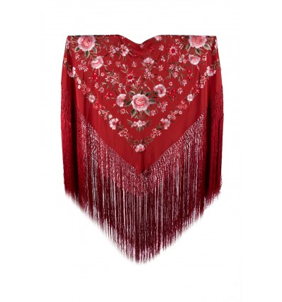 Natural silk hand embroidered shawl MD35