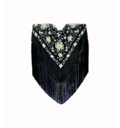 Natural silk hand embroidered shawl G321