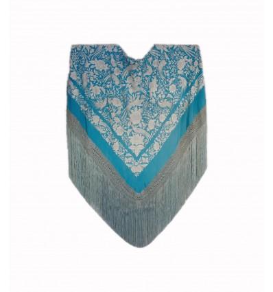Mantón antiguo seda natural bordado a mano M.ANT-7