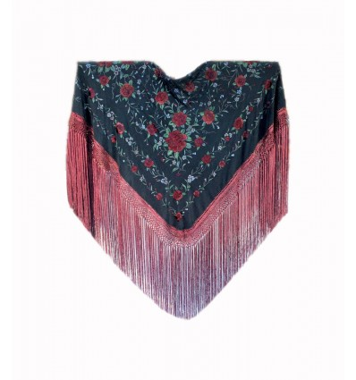 Natural silk hand embroidered shawl G296